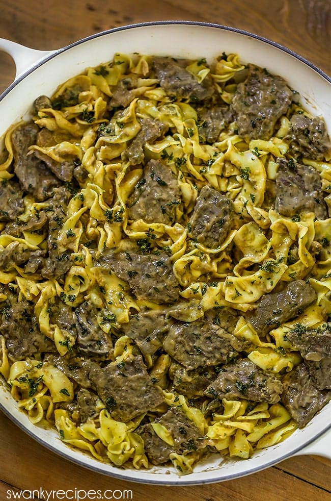 Rich and creamy Beef Stroganoff with egg noodles.