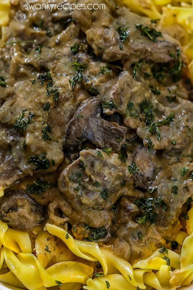 Creamy mushroom and onion sauce with sirloin beef tips served over pasta.