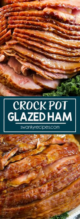 Crock Pot Spiral Ham with an easy brown sugar glaze. Slow Cooked ham in pineapple and pineapple with cloves. Best holiday ham recipe.