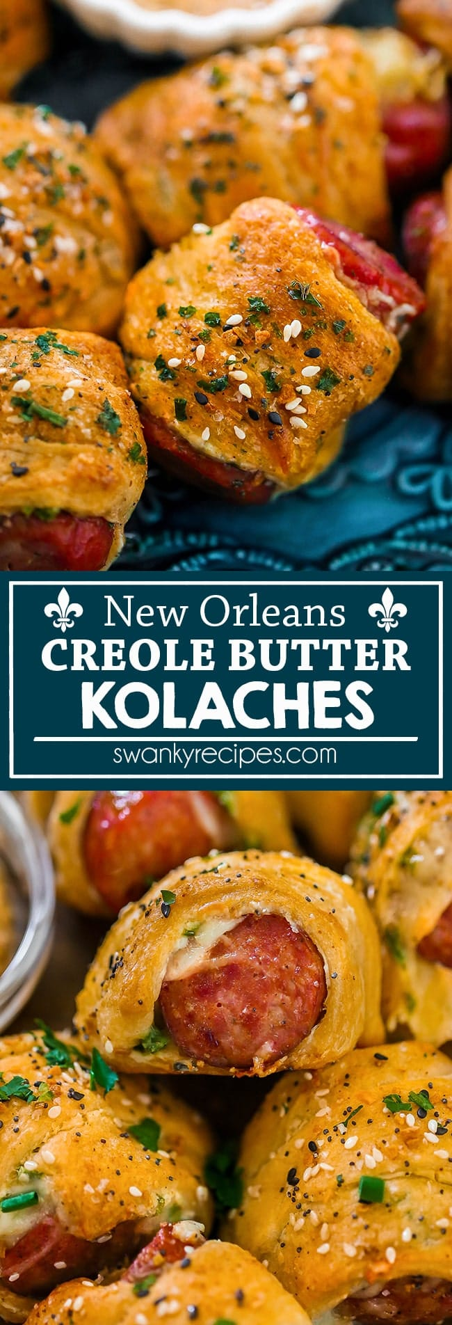New Orleans Creole Butter Kolaches - A Louisiana style appetizer with authentic French Quarter flavor. Pork Sausage smothered in Creole butter and rolled in a puff pastry with cheese. Serve these adult pigs in a blanket as a game day appetizer or for Mardi Gras with Creole Mustard.
