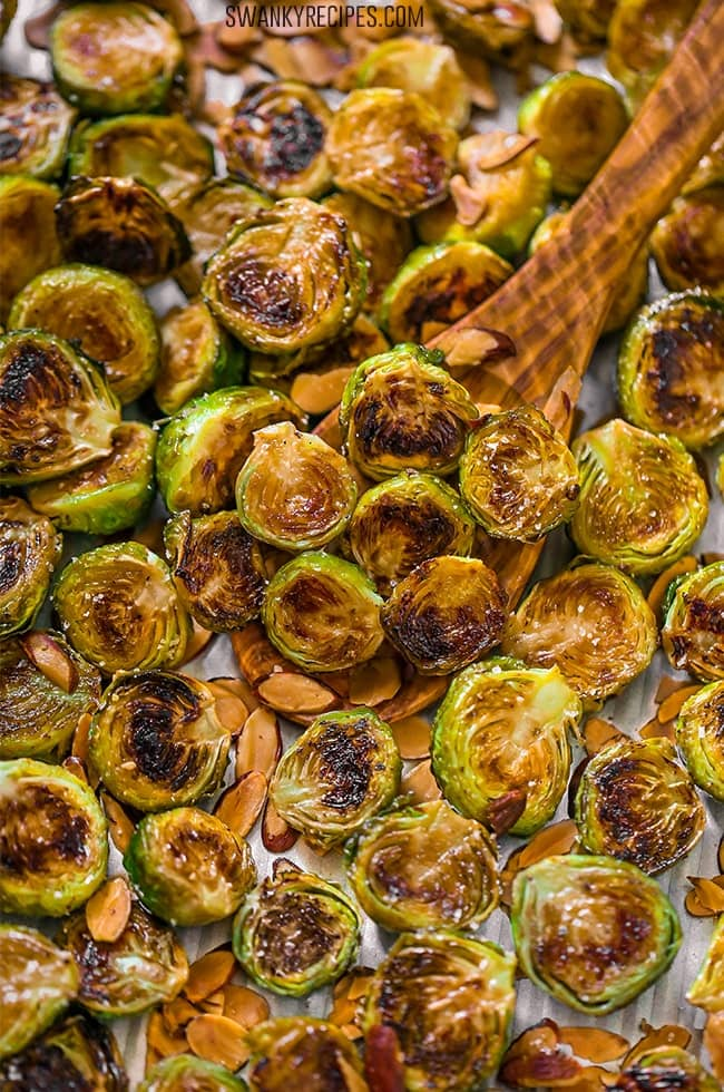 Quick and easy brussels sprouts roasted in the oven for a healthy side dish vegetable recipe.
