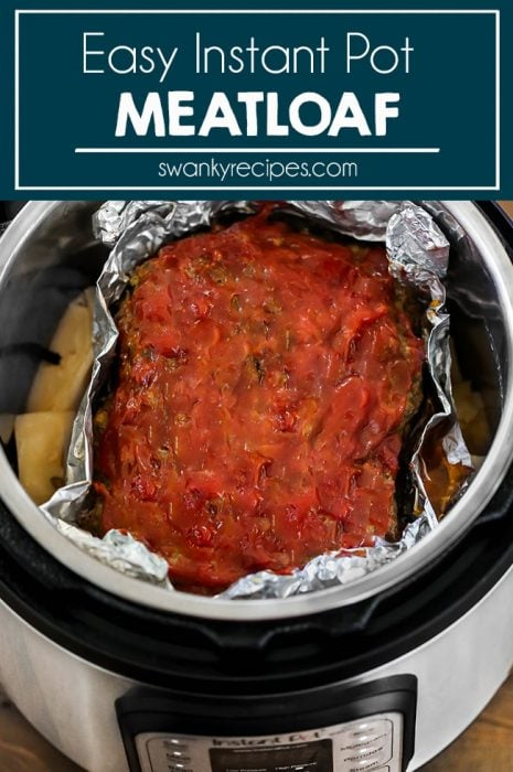 Ground beef meatloaf with ketchup glaze made in the pressure cooker with potatoes.