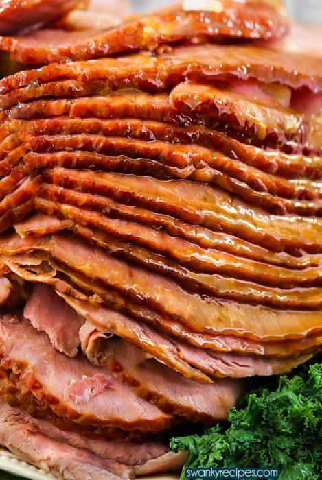 Spiral ham with honey sugar glaze.