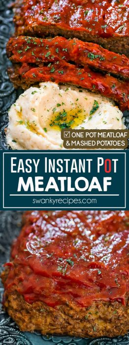 Beef meatloaf shaped into a loaf and pressure cooked in the instant pot. Classic Meatloaf and Potatoes made convient in just 35 minutes with classic flavor!