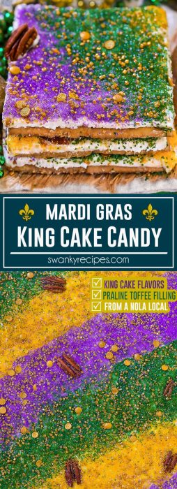 King Cake Cracker Candy - Praline caramel toffee soaked saltine cracker crust with king cake frosting and sprinkles. An easy Mardi Gras dessert from a New Orleans local.