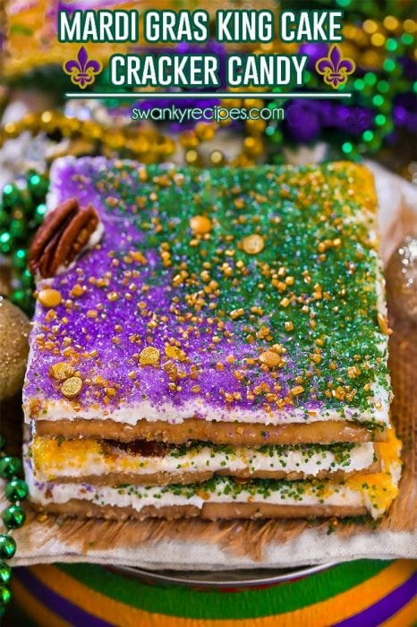 King Cake Cracker Candy - Classic New Orleans King Cake flavored candy made with saltine crackers, praline toffee caramel filling, and king cake frosting.