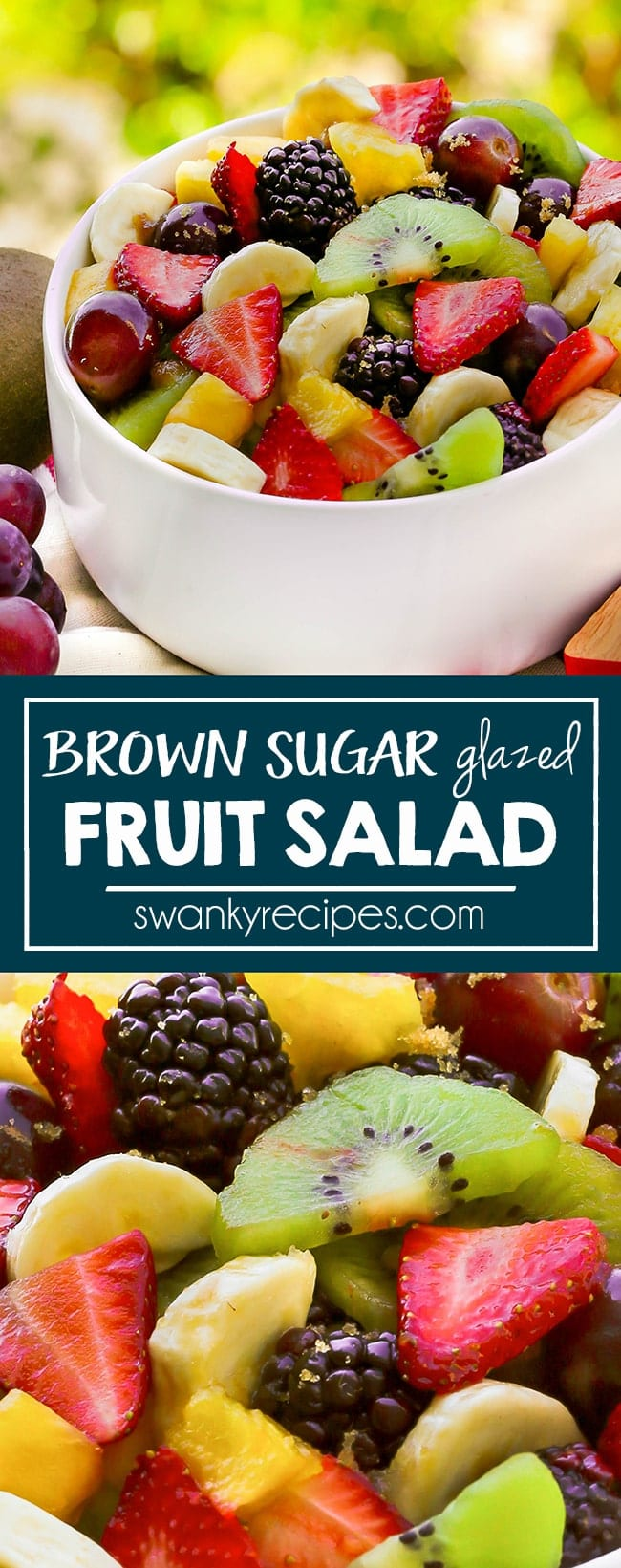 Serve a classic FRUIT SALAD WITH BROWN SUGAR ORANGE GLAZE. Not only is it perfectly healthy, but it's way too easy not to make. Simply slice whole fruits and toss strawberries, kiwi, pineapple, bananas, blueberries, blackberries, and grapes into a serving bowl. Pour over a mixture of the orange juice glaze with brown sugar and pudding for a surprise your family will gobble up.