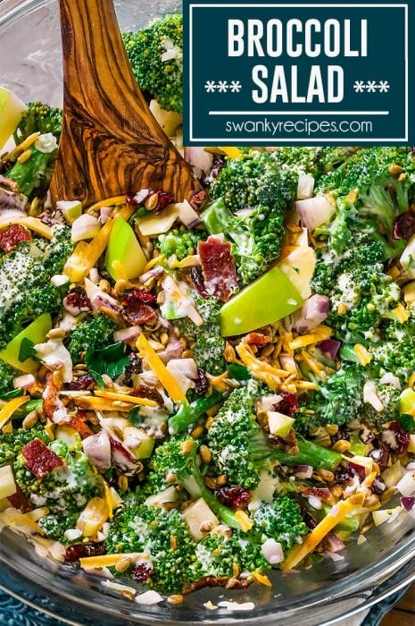 Broccoli Salad - Fresh broccoli salad with nuts, cheese, bacon, onion, cranberries, and apples tossed in a creamy dressing. Healthy side dish recipe to serve for Easter, Mother's Day, Memorial Day, 4th of July, or summer potlucks and cookouts.