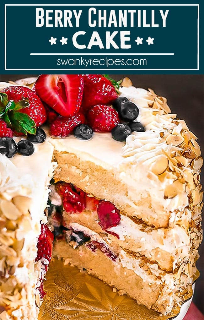 This CHANTILLY CAKE is a spring dessert staple. At least twice a year I'm requested to make this berry almond layer cake. It's full of classic almond flavor with almond cream frosting featuring strawberries, blueberries, and raspberries.
