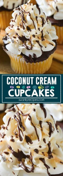 Delicious COCONUT CREAM CUPCAKES. Each bite of toasted coconut, dark chocolate, and sweet whipped cream will leave you wanting more!