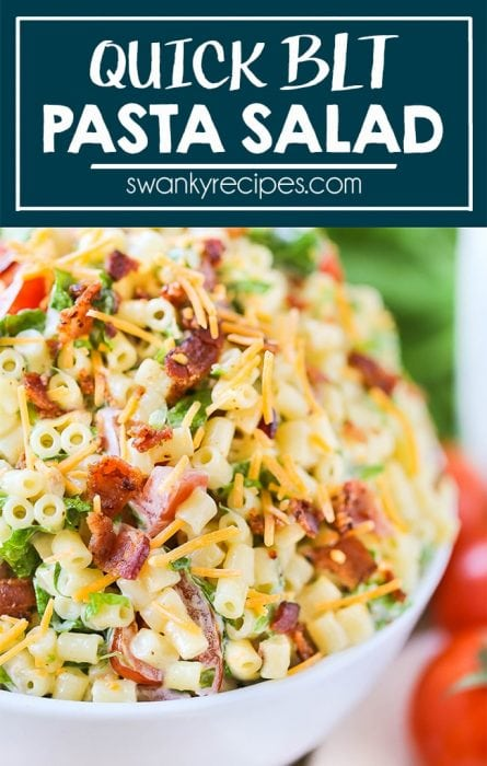 Everyone loves a good pasta salad recipe and this BLT PASTA SALAD is a game-changer. Served cold, this bacon, lettuce, tomato, and cheddar cheese salad with a mayo dressing is always a hit for family dinners.