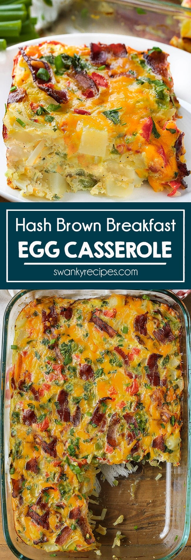 Wake up to this easy HASHBROWN BREAKFAST CASSEROLE on Easter morning. This hearty egg casserole is made with potatoes, cheese, tomatoes, bell peppers, onions, and bacon. My family requests this simple egg bake for a savory breakfast at every holiday. Make this night before and bake it in the oven for a tasty Easter brunch.