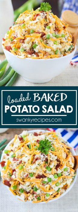 Hosting a holiday means that you should have at least 3-4 side dishes for guests to pass around the table. Make this LOADED POTATO SALAD for a quick and easy dish that guests will love. As an added bonus, it tastes just like twice baked potatoes, without all the hassle and timing it to your meal.