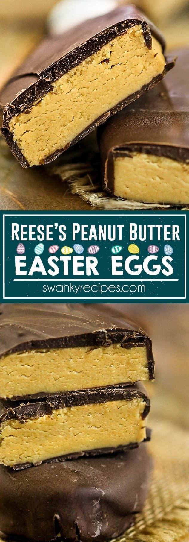 Reeses Peanut Butter Easter Eggs - Copycat Peanut Butter Cup Easter Eggs. A quick homemade version to make for Easter candy with peanut butter and chocolate.