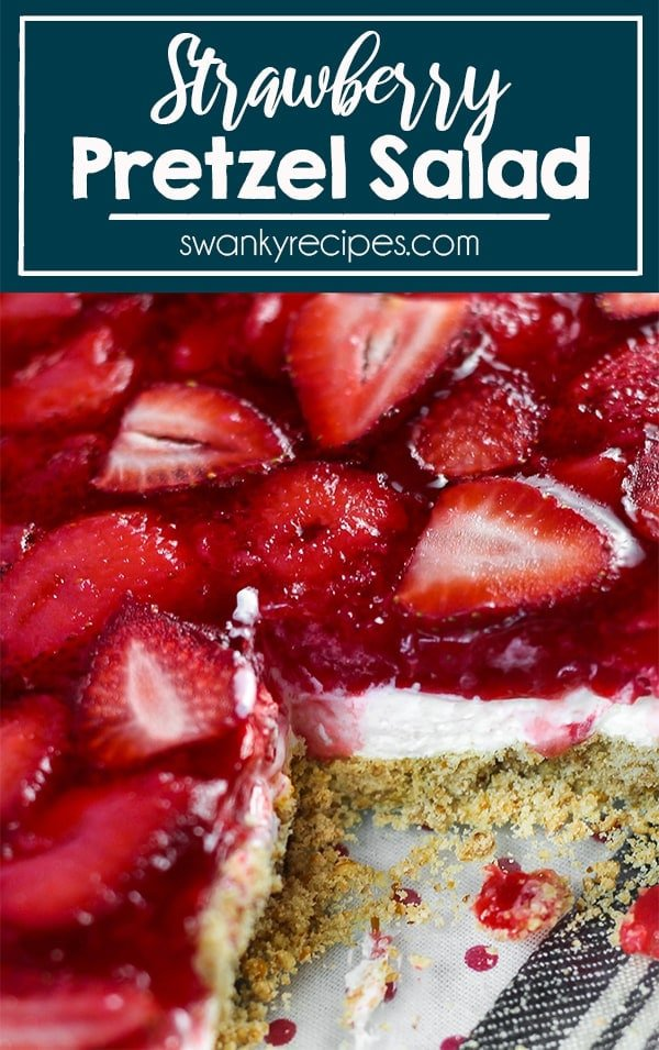 Family will love this sweet and salty STRAWBERRY PRETZEL SALAD served in a casserole dish as a fruit layered dessert. A crunchy buttery pretzel crust with sweet and salty flavor packed into each bite with cream cheese filling and fresh strawberry topping.