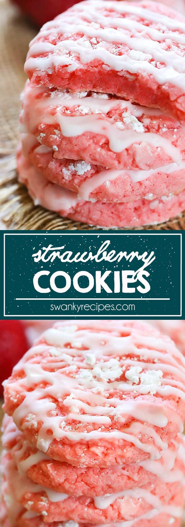 Strawberry Cookies - The ultimate strawberry cookie recipe. Made easy with doctored up cake mix, these strawberry cookies are quick to make for dessert.