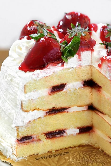 A spring dessert like this STRAWBERRY CREAM CAKE will bring joy to your Easter guests. Fresh strawberries and cream take this layer cake to the next level.