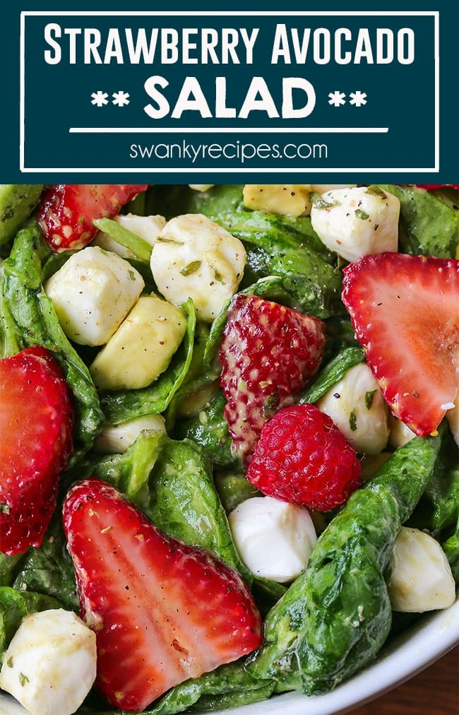 Prepare an easy and gourmet salad for your holiday dinner. Toss together this STRAWBERRY SALAD WITH MOZZARELLA, SPINACH, AND AVOCADO in a natural avocado dressing. A creamy, cool springtime salad deserves a spot on your Easter table this year.
