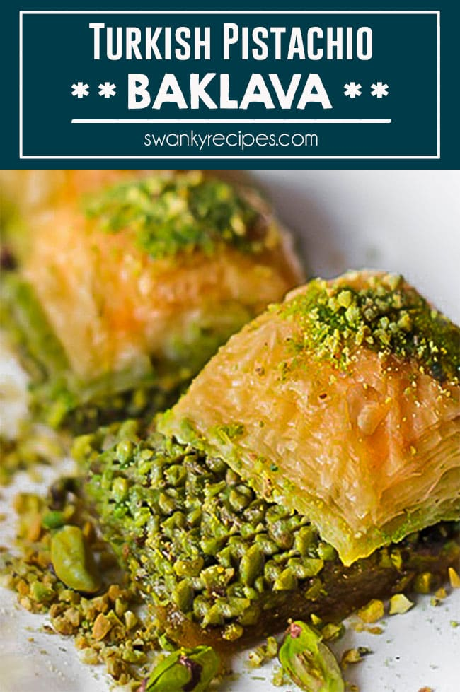 TURKISH PISTACHIO BAKLAVA super easy to make thanks to using store-bought puff pastry, but it's naturally sweetened with honey and crushed pistachios.
