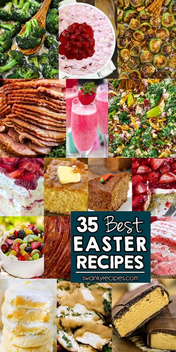 35 Easy Easter Recipe Ideas - Holiday recipes include honey baked ham, crock pot brown sugar pineapple ham, roasted broccoli, ranch brussels sprouts, fluff salad recipes, fresh broccoli salad, strawberry shortcake, cornbread, carrot cake, homemade Easter candy recipes, fruit salads, fresh salads, and many more menu recipes.