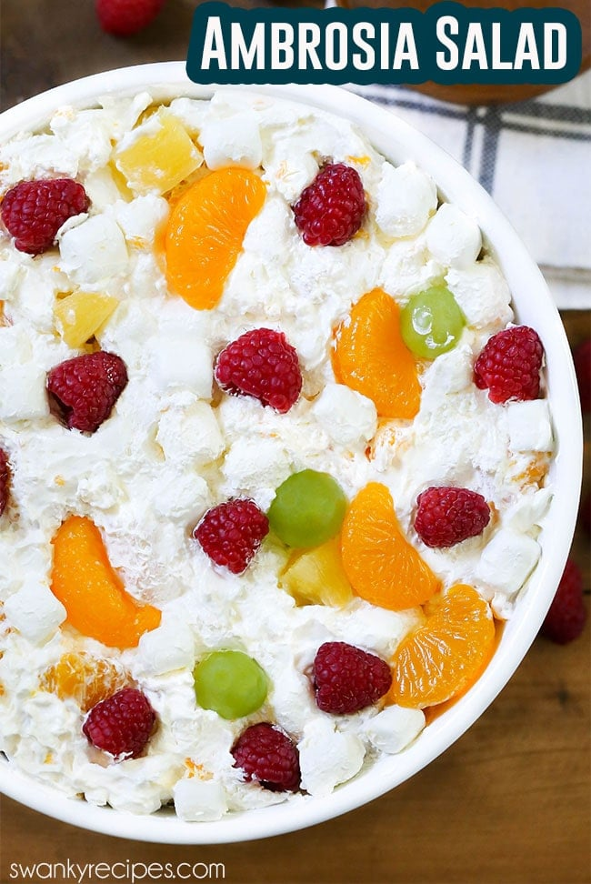 This AMBROSIA SALAD is perfect for a potluck style brunch or dinner. Not only will this creamy fruit salad bring back joyful memories of past holidays with the family, but it's so easy to make that anyone can put it together in no time at all.