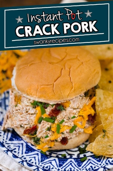 Instant Pot Crack Pork - Shredded pork roast in bacon ranch cheese sauce and served on sandwich slider.