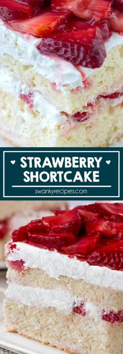 Easy Strawberry Shortcake recipe with double white cake layers and strawberries and whipped cream topping.