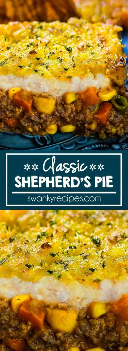 Classic Shepherd's Pie with mashed potatoes. Easy ground beef casserole with vegetables in a beef sauce and buttery mashed potato topping with parmesan cheese. Delicious hearty beef casserole dinner recipe idea.