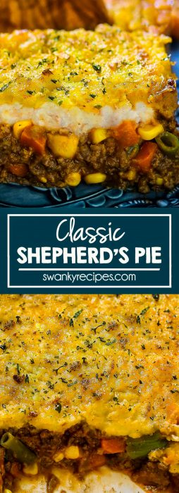 Shepherd's Pie - Classic ground beef meat pie in a thick beef sauce with vegetables and mashed potato crust topping with cheese.