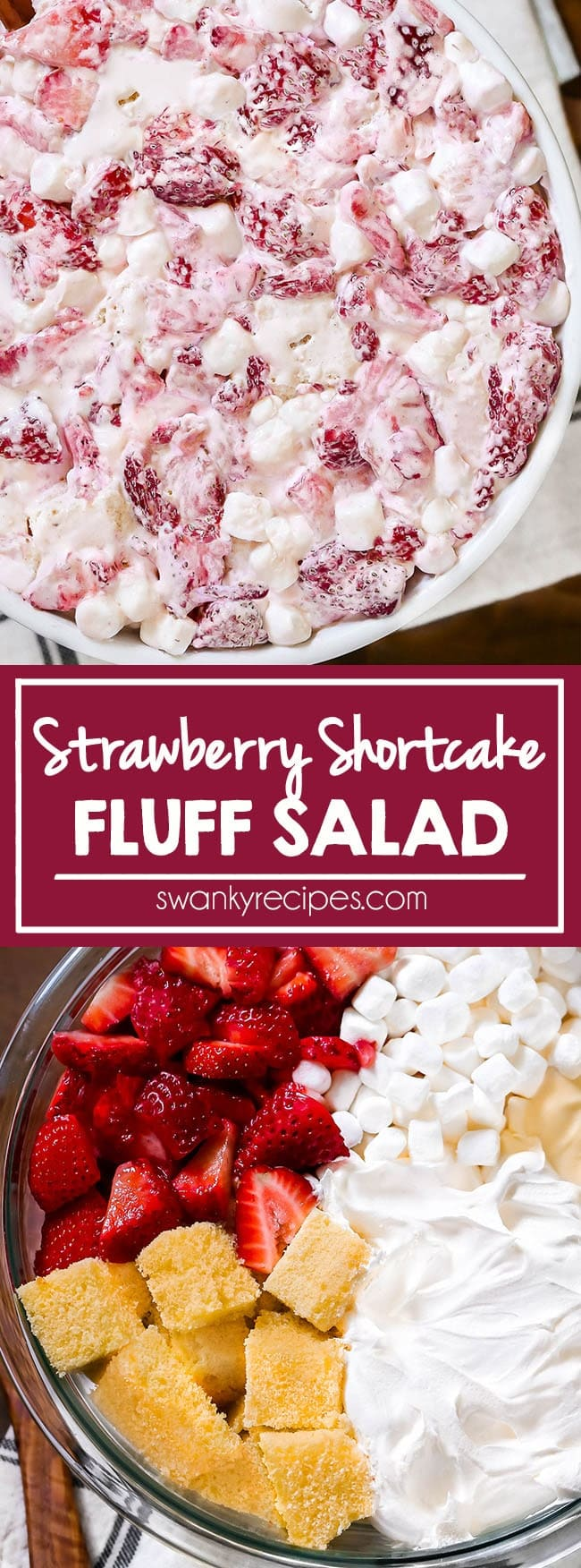 Strawberries sliced in a bowl and folded into a creamy mixture of whipped cream, sweetened condensed milk, mini marshmallows, and little chunks of pound cake.
