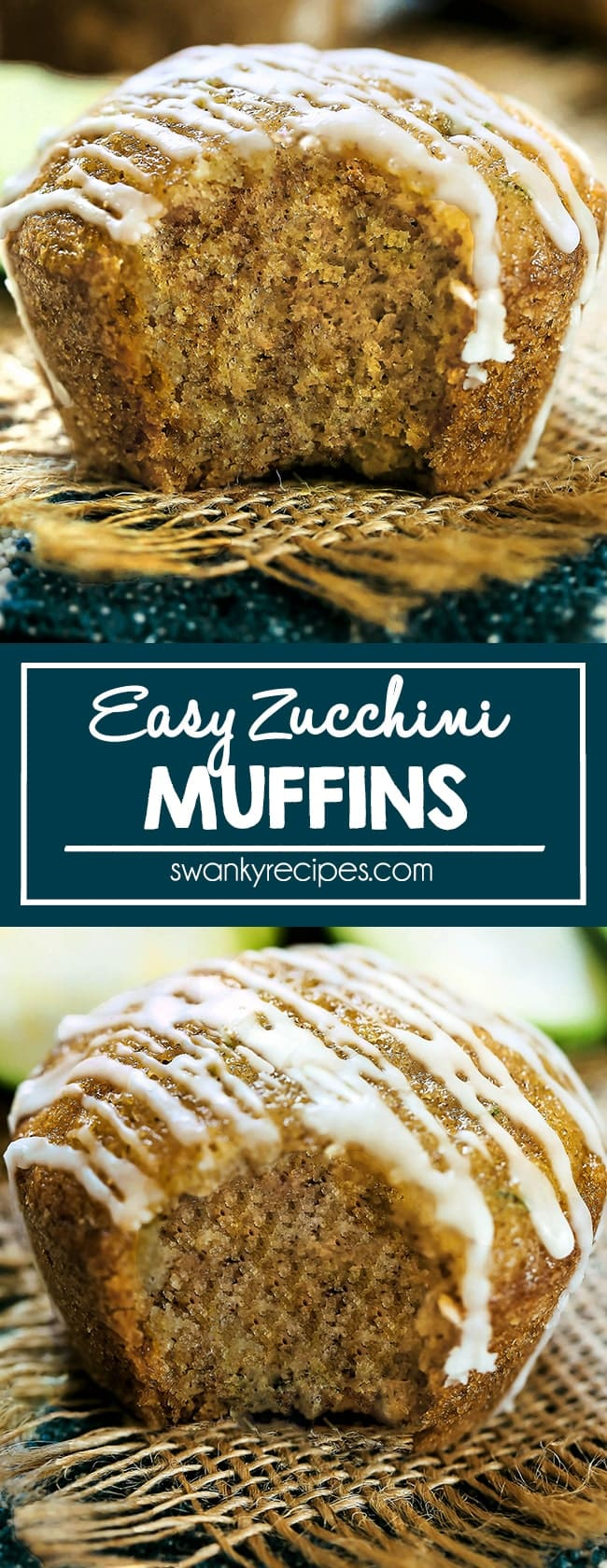 Zucchini Muffin cut in half with yellow crumbs and white icing glaze drizzled over the top. Served on a tabletop with a navy blue napkin and burlap.