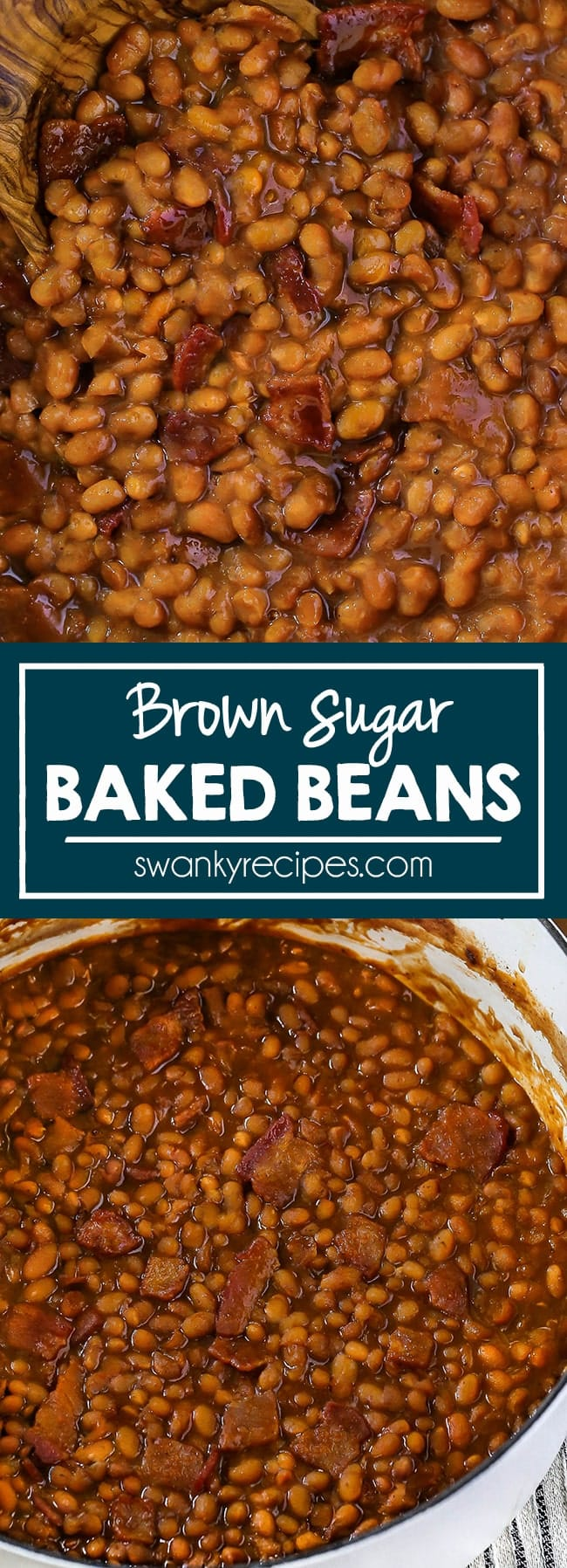 Close picture of baked beans in a thick brown sugar sauce with pieces of bacon scooped up with a wooden serving spoon. Another image of baked beans in a white dutch oven with pieces of bacon.