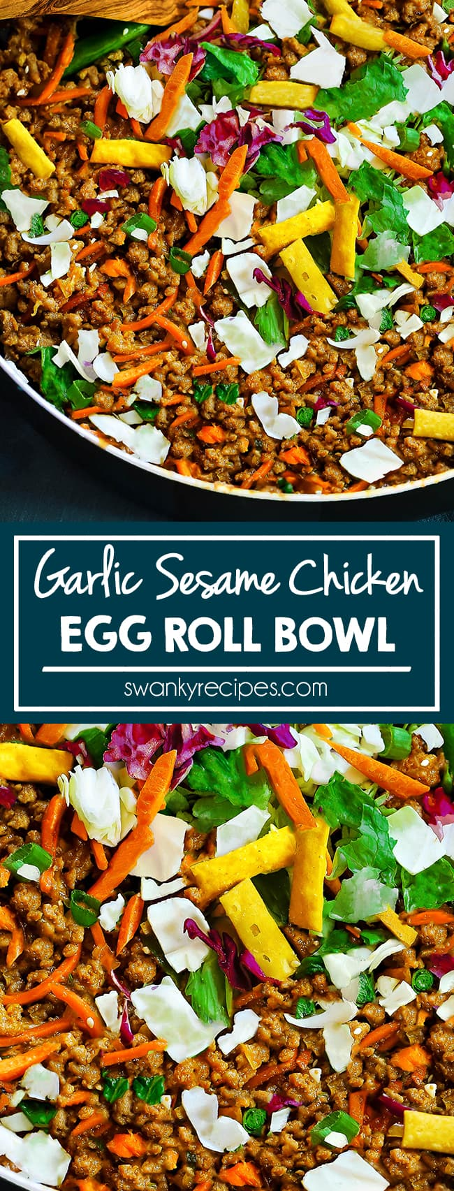 Egg Roll Bowl - Quick, easy 15 minute chicken egg rolls in a bowl with garlic sesame honey sauce. Skip the wrapper and use wonton crisps. Healthy Asian chicken recipe with cabbage and vegetables.