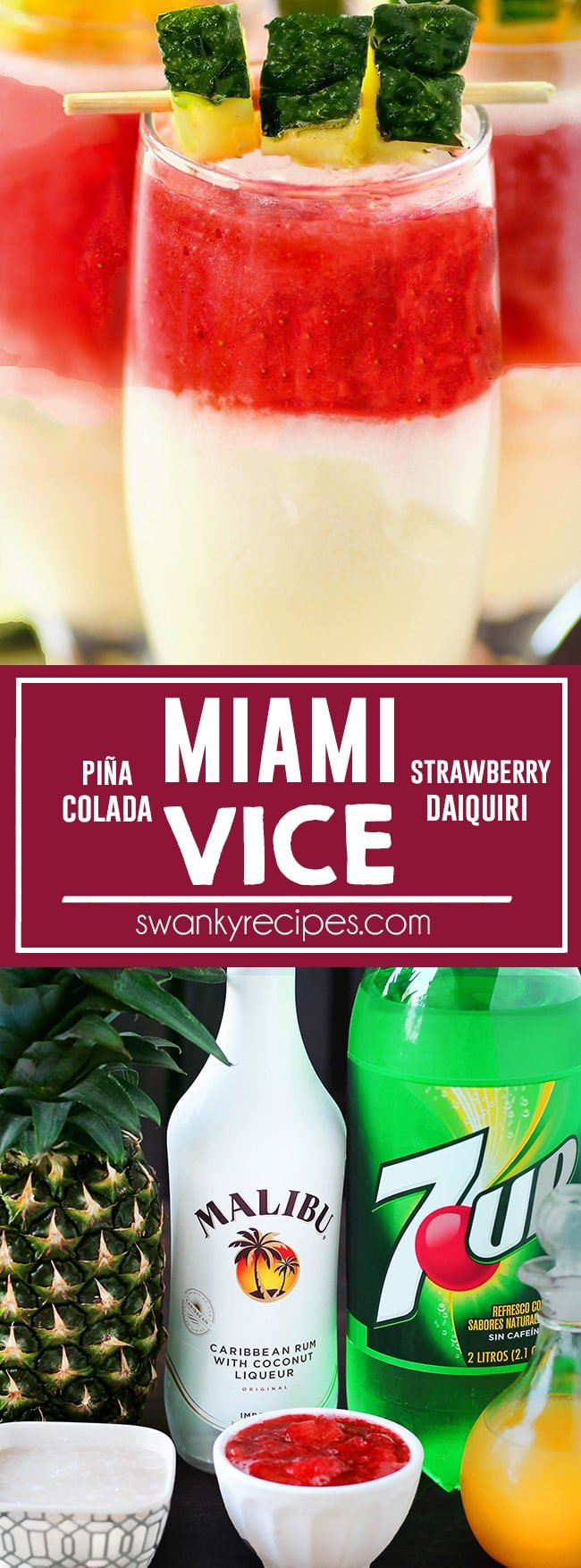 Miami Vice - BEST tropical rum drink! Miami Vice cocktail with strawberry daiquiri and pina colada served chill. A fruity summer adult beverage and a classic tropical resort drink.