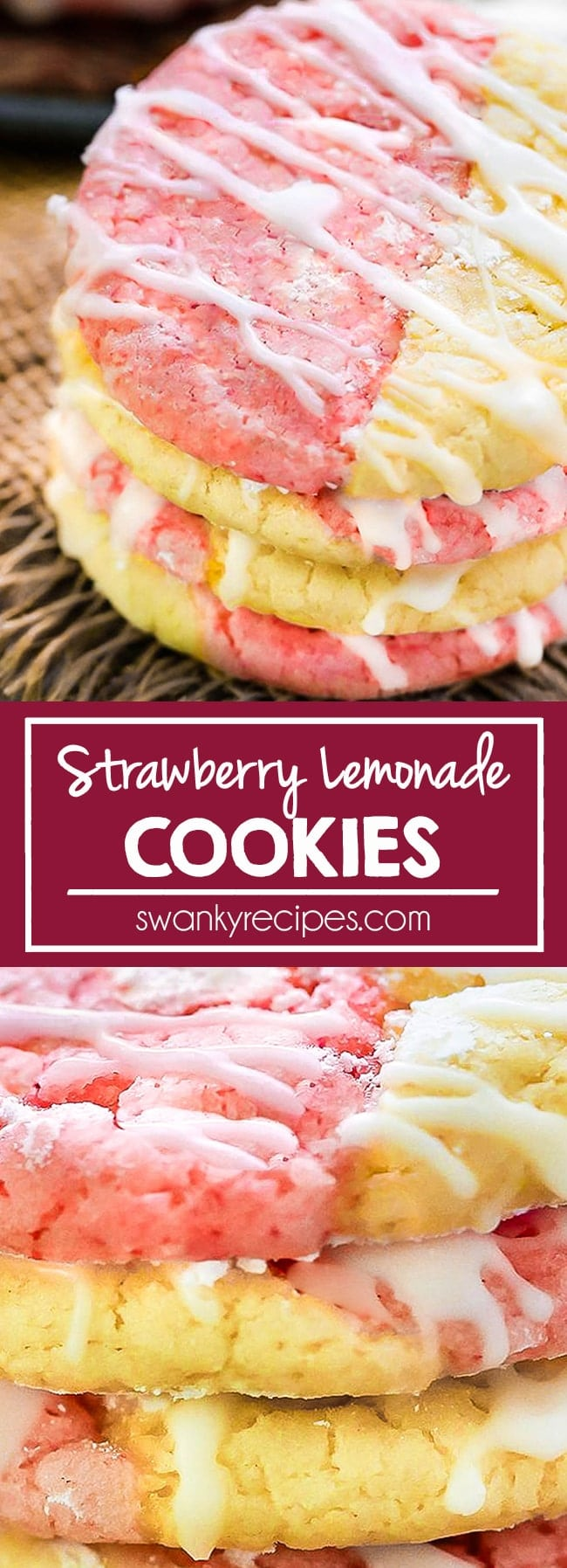 A stack of 4 cookies. Half strawberry and half lemon flavor combined into 1 cookie with white icing glaze.