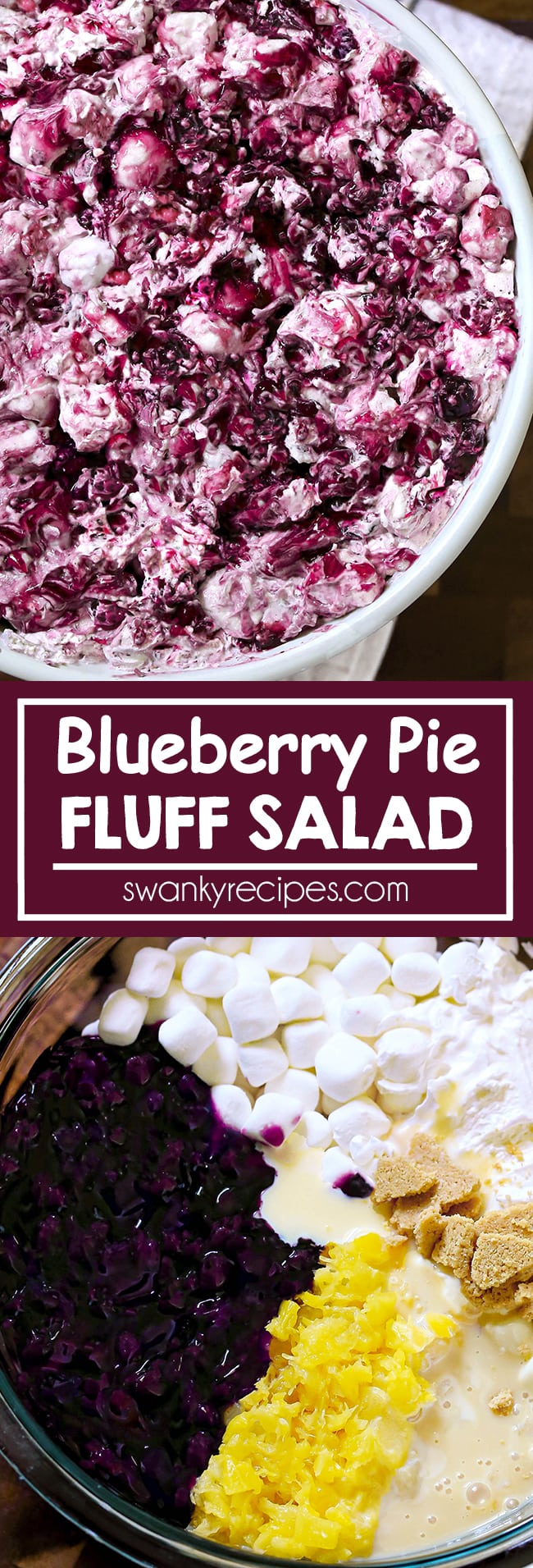 Blueberry Pie Fluff Salad - Blueberry pie filling in a creamy whipped cream marshmallow filling with graham cracker pie crust. Quick, no bake dessert salad and pie recipe.