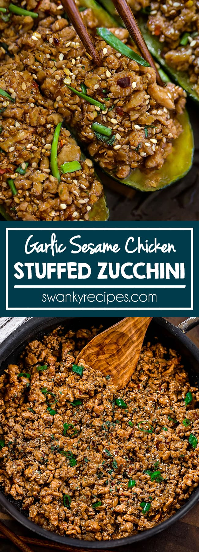 Garlic Sesame Chicken Zucchini Boats - Quick 20 minute Asian chicken recipe with garlic sesame sauce. You'll love this healthy zucchini boat recipe filled with sweet and savory saucy chicken.