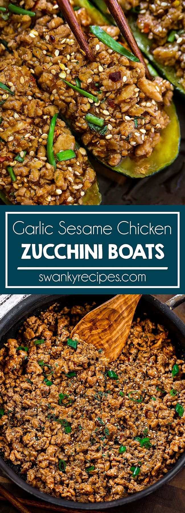 Garlic Sesame Chicken Zucchini Boats - 20 minute Asian stuffed zucchini Boats in a rich Garlic Sesame sauce with honey, garlic, and soy sauce. A sweet and tangy ground chicken recipe with zucchini boats.