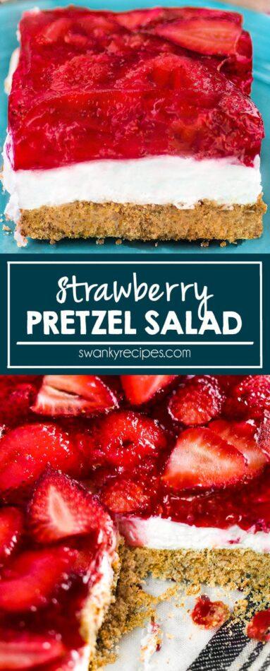 Strawberry Pretzel Salad - Refreshing pretzel crust cheesecake with strawberry topping. An easy summer potluck casserole dessert with fresh fruit topping, cheesecake filling, and buttery pie crust.