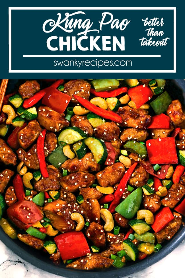 Kung Pao Chicken Recipe - Easy Kung Pao Chicken made in 25 minutes. Chicken breasts, bell peppers, zucchini, red chili peppers coated in a delicious rich garlic sesame sauce. Serve with rice.