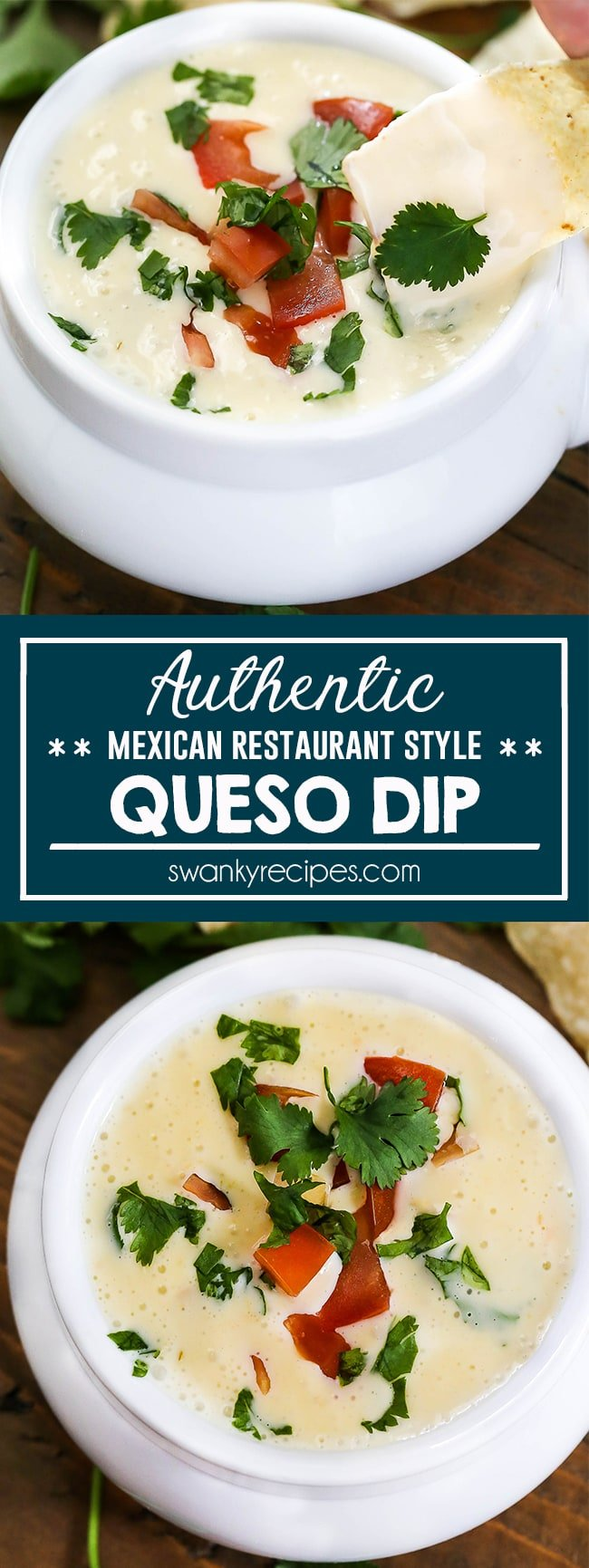 Authentic Queso Cheese Dip - Real Mexican restaurant style Queso Dip with smooth dipping cheese. Melted cheese dip with jalapeno, cilantro, tomatoes. Serve with tortilla chips for a quick authentic Mexican appetizer.