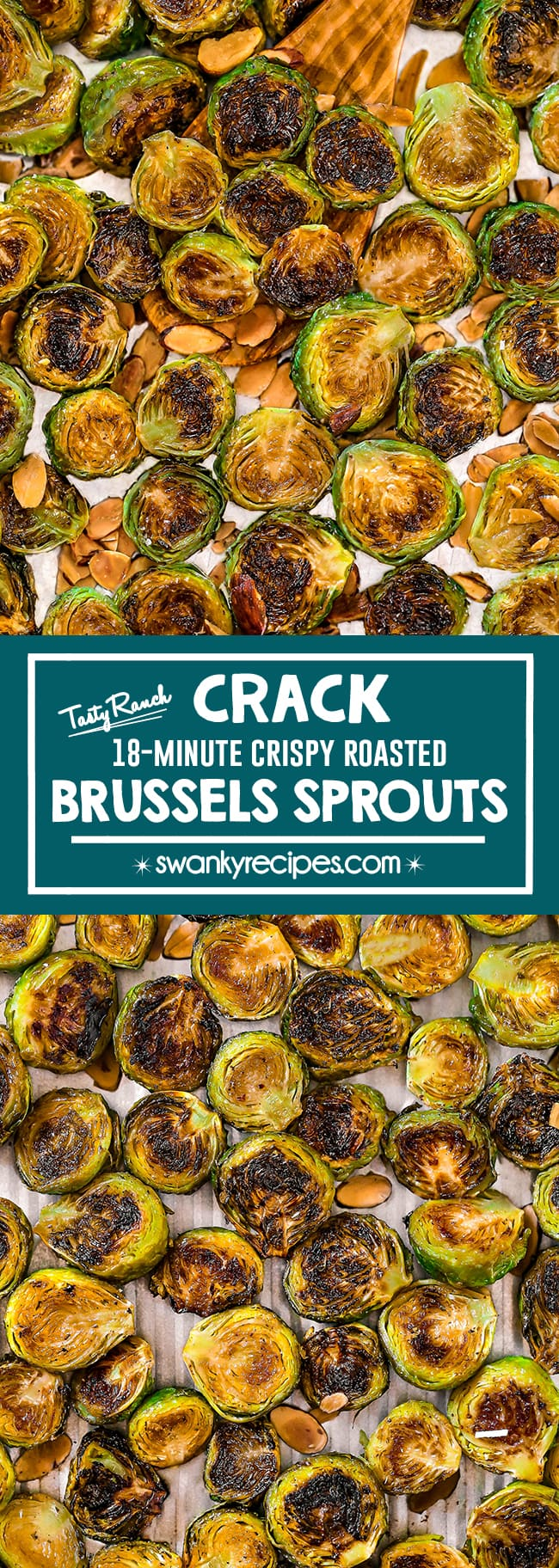 Easy Crispy Roasted Brussels Sprouts - Quick, healthy brussels sprouts with outrageous flavor! Oven-roasted sprouts tossed in delicious ranch seasoning with parmesan cheese and toasted almonds. Healthy side dish vegetable to make for holidays.