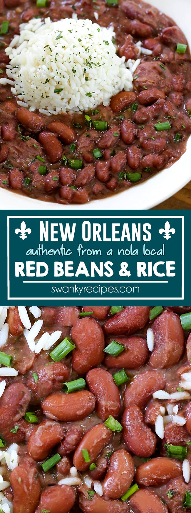 New Orleans Red Beans and Rice - A Louisiana classic on Mondays. You'll love this stove top red beans and rice recipe made with real New Orleans andouille sausage, and creole seasoning.