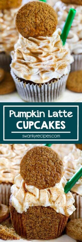 Pumpkin Cupcakes - The BEST Pumpkin Latte Cupcakes. A Starbuck's copycat dessert recipe made with real pumpkin, cookies, and caramel. A delicious fall treat.