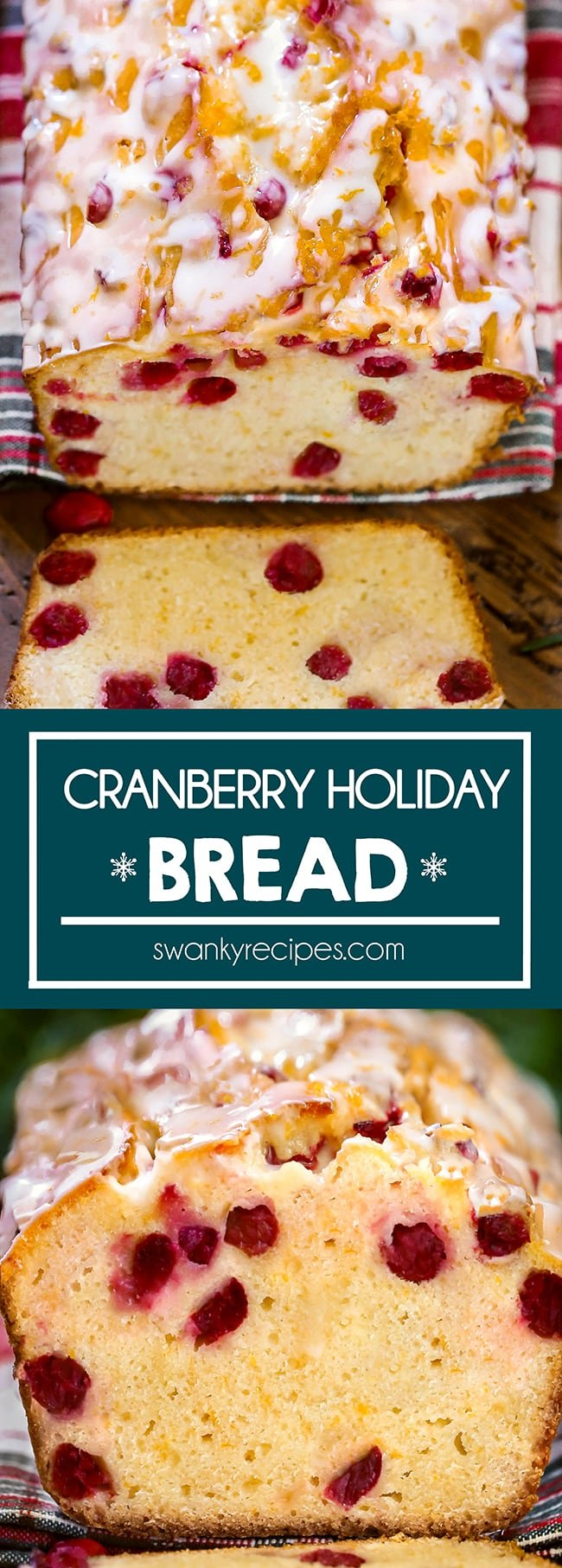 Cranberry Holiday Bread - Cranberry loaf bread served on a red, gree, and white Christmas linen napkin and wooden board. Top is iced in white frosting with orange zest and cranberries. Loaf sliced with a piece on the board. Text in center reads Cranberry Holiday Bread in blue boarder. Second image is the loaf up close facing forward with a cut slice sitting in front of loaf.
