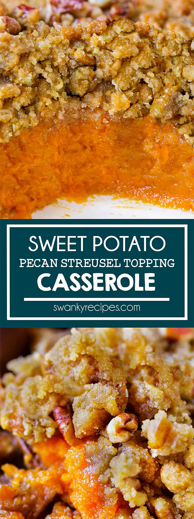 Sweet Potato Casserole with Pecan Streusel - The BEST sweet potato casserole with a classic sweet filling and crunchy streusel topping. Make this classic Thanksgiving side dish for the holiday.
