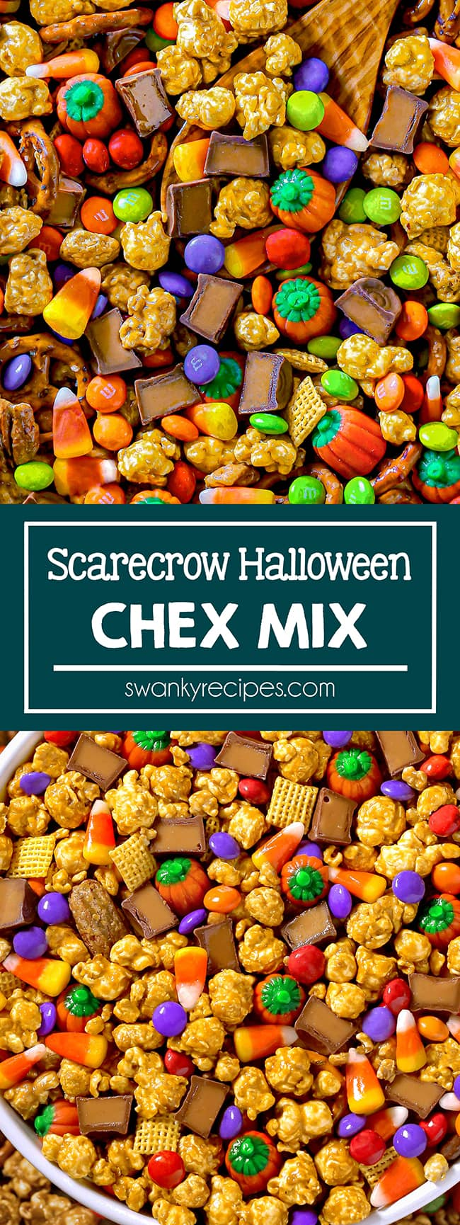 A sheet pan filled with caramel corn, candy corn, m&ms, chex cereal, pretzels, and rolos. The perfect halloween party snack for scary movies, and parties. A quick and easy dessert for the fall season.