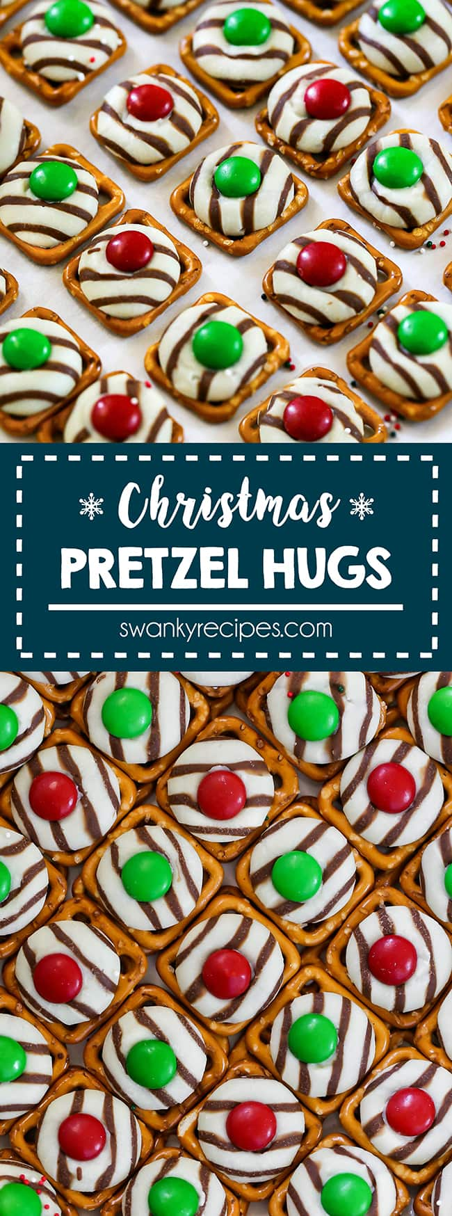 Christmas Pretzel Hug Cookies - Pretzel squares topped with a melted striped white and chocolate candy with a green or red m&m candy on top.