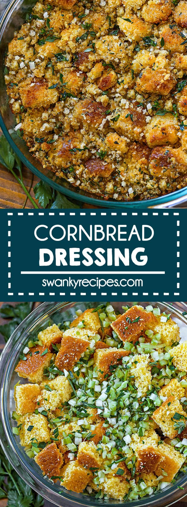 Classic Cornbread Dressing - Toasted cornbread pieces in a glass casserole dish with classic vegetables like chopped onions, bell peppers, and celery scattered in the dish with fresh green herbs on top. Served in a round dish on a wooden board with parsley leaves in the background.