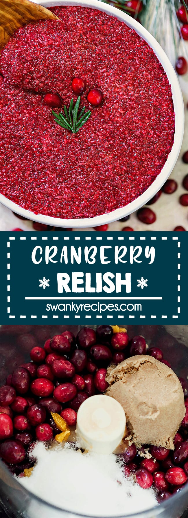 Cranberry Relish - Quick, easy cranberry condiment for Thanksgiving. Tart, sweet, and delicious to serve in place of cranberry sauce or in addition to it. We always make this and family loves it. Made with cranberries, orange juice, sugar, and apple.